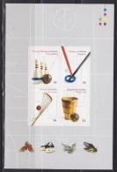 = Inventions Canadiennes De Sports: Cinq-quilles Ringuette Basket-Ball Et La Crosse. 1/2 Carnet Autocollant Neuf 4 Timbr - Full Panes