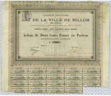Gaz De La Ville De Billom, Puy De Dome, Tirage De 700 Ex - Electricité & Gaz