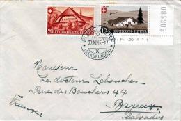 SCHWEIZ 1945, Seltene 2 Fach Frankierung Auf Brief, 1 Randstück, Schöner Stempel Graubünden, Gel.v.Schweiz, Graubünden