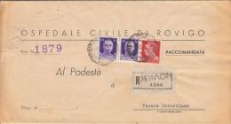 ITALIEN 1943, Seltene 3 Fach Frankierung Auf Reco - Dokument, Gel.v. Rovigo - Fiesse Umbertiana, Unterschrift ... - Vatikan