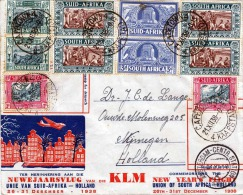 R! SÜD AFRIKA 1938, 10 Fach Frankierung Auf LP-Brief, Nuwejaarsvlug Van Suid-Afrika - Holland 26-31.Dez.1938 - Südafrika (1961-...)