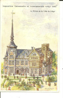 EXPOSITION UNIVERSELLE ET  INTERNATIONALE  LIEGE 1905      LE PALAIS DE LA VILLE DE LIEGE     (LITHO.  THEO  SMEETS ) - Luik