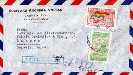 BOLIVIA 1948, 2 Fach Frankierung Auf R-Brief, Gel.v. La Paz - Luzern - Bolivien