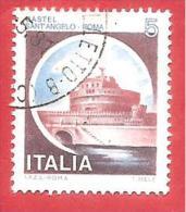 ITALIA REPUBBLICA USATO - 1980 - Castelli D'Italia - Castel Sant'Angelo, A Roma - £ 5 - S. 1504 - 1946-.. République
