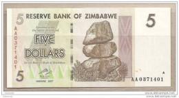 Zimbabwe - Banconota Non Circolata Da 5 Dollari - 2007 - Zimbabwe
