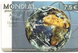 CARTE-PREPAYEE-2002-7.5€-MONDIAL-GLOBAL SYSTEME & NETWORK-TERRE-Exp31/12/2003-V°Vert Jaune 7,50€-TBE    - - Autres Prépayées