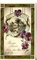 Bonne Année -  Carte Gaufrée - Paysage  Encadré Avec Décor Pensées - Nouvel An