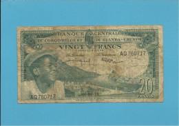 BELGIAN CONGO - 20 FRANCS - 01.06.1959 - P 31 - BANQUE CENTRALE DU CONGO BELGE ET DU RUANDA-URUNDI - BELGIUM - Ruanda-Urundi