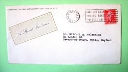 USA 1957 Cover New York To England - Jefferson - Bonds Finance Cancel - Stati Uniti