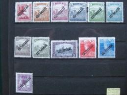Timbres Hongrie :  KOZTARASAG 1918 - 1922  N° 197/198/199/200/201/202/204/205/208/211/214/216 - Neufs