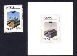 Monochrome Proof Tonga Oil Survey Petrol Petroleum Map Energy Power Geology Ocean Floor Ship - Geology