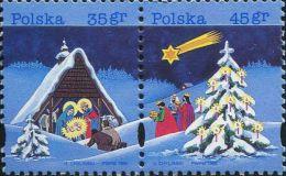 PS0801 Poland 1995 Christmas 2v MNH - Used Stamps