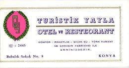 3 HOTEL LABELS TURKIJE  Turkey Santral Palace Adana YAyla Konya Stamps 1956  Olympic Games - Hotel Labels