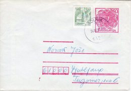 YUGOSLAVIA 1980 2,50 D. Postal Stationery Envelope Used With Additional Stamp.  Michel U88 II - Ganzsachen