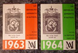 RARE+++2 PETITS CALENDRIERS 1963 ET 64.ORPHELINS APPRENTIS D´AUTEUIL.PARIS.TBE - Petit Format : 1961-70