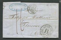 1851  RARA  PREFILATELICA VIA DI  MARE   DA MARSEILLE  FRANCIA  X FIRENZE   LIVORNO VIA DI MARE  CON INTERESSANTE  TESTO - Italia