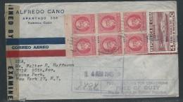 Cuba, 1945, Scott #275a, 326, On Certified, Cover Sent From Havana To Ozone Park, New York, Many Postal Markings - Cuba