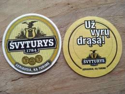 Beer Bier Coaster From Lithuania, Svyturys Lighthouse Eagle Bird, Uz Vyru Drasa - Sous-bocks