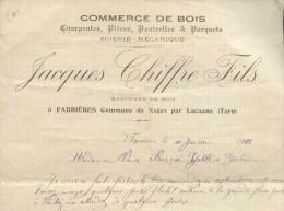7721 - BRADERIE TOUT A 1 EURO -   FACTURE TARN FARRIERES COMMUNE DE NAGES PAR LACAUNE COMMERCE DE BOIS - Vieux Papiers