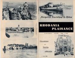 PROGRAMME HORAIRES ET TARIFS RHODANIA PLAISANCE 1934 -LYON. - Bateaux