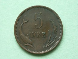 1874 CS - 5 ORE / KM 794.1 ( Uncleaned Coin / For Grade, Please See Photo ) !! - Danemark