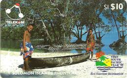 SOLOMON ISLANDS $10 BOYS WITH CANOE 1ST TYPE WITH SP LOGO 1995 GPT CODE: SOL-09 READ DESCRIPTION !!