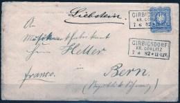 Handschriftlich Liebstein über Girbigsdorf Auf Brief Mit 20 Pf. Blau, DR Nr. 42, 1882 Nach Bern - Allemagne