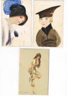 3 Cpa  Chapeaux Et Mode  Voir Scan Et Description  1 Signée Bompard Illustrateur Italien - Mode