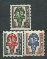 Polynésie Taxe N° 1 / 3  XX  :  Masques Les 3 Valeurs  Sans Charnière, TB - Timbres-taxe