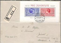 R-Brief Mit Zu 83-84I Mi Block 3 Mit O ZÜRICH 24.XII.37 (Zu CHF 125.00) Horizontalbug Mittig - Blocs & Feuillets