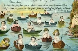 Bébés Sur Barques   1904 - Bébés