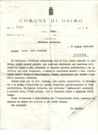 COMUNE DI OSIMO LETTERA DEL PODESTA' RIGUARDANTE BANDIERA NAZIONALE DEL 1936  C.1508 - Decreti & Leggi