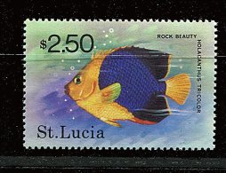 Ste Lucie ** Tbre Du Bloc N° 14 - Poisson De Ste Lucie - St.Lucia (1979-...)