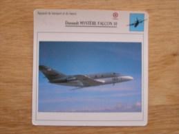 DASSAULT MYSTERE FALCON 10   FICHE AVION Avec Description  Aircraft Aviation Transport Et Liaison - Flugzeuge