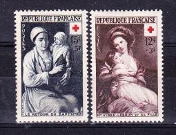 FRANCE  1953 ,  Red Cross  ,  Y&T  #  966/7,   Cv   23.50  E ,  ** M N H , V V F - Francia