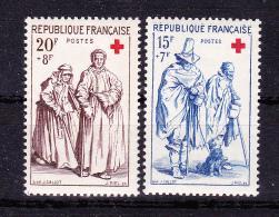 FRANCE  1957 ,  Red Cross  ,  Y&T  #  1140/1,   Cv   11.50  E ,  ** M N H , V V F - Unused Stamps