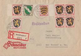 Fr. Zone R-Brief Mif Minr.1,2,5x 6,8 Reutlingen 26.6.46 - Französische Zone