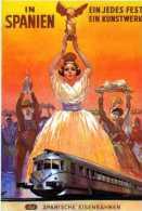 Pub Carte Espagnole In Spanien Ein Jedes Fest Ein Kunstwerk,Spanish Eisenbahnen,victoire De Samotrace, Train - Publicité