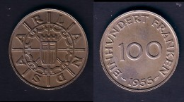 SARRE - 100 FRANKEN 1955 SUPERBE !!! - Sarre (1954-1955)