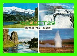 ICELAND - KVEDJA FRA ISLANDI - 4 MULTIVIEW -  TRAVEL IN 1990 - EDDA FOTO - - Islande
