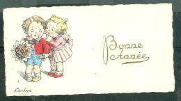 Mignonnette - Couple D'enfant , Bonne Année , Illustration Signée Alice Wanke, écrite Au Dos Mais Non Datée   Ax70009 - Autres Illustrateurs