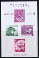 1959   Definitive Stamps   Imperf. Souvenir Sheet Of 4  Sc 291B MNH - Corée Du Sud