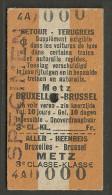 QY1 BELGIUM 3rd Cl Bruxelles Brussel - Metz - Europe