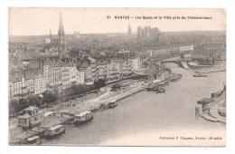 CP, 44, NANTES, Les Quais Et La Ville Pris Du Transbordeur, Voyagé En 1915 - Nantes