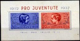 Suiza 1937 * BF3 PRO JUVENTUTE (con Defectos). Souvenir Sheet #3 PRO JUVENTUTE (with Flaws). - Nuovi