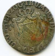 """*Pas Courante* .6. KreuTzer   """"ALLEMAGNE/BADEN""""  1816  Argent TB   F/VF - [ 1] …-1871 : Etats Allemands"""