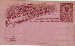 CONGO  BELGE   3CP  Carte Rreponse Pyée  état Independant Du Congo - 1884-1894 Précurseurs & Leopold II