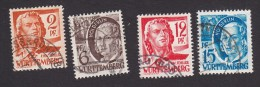 Germany, Scott #8N14, 8N15, 8N18, 8N19, Used, Scenes And People Of Wurttemberg, Issued 1948 - Zone Française