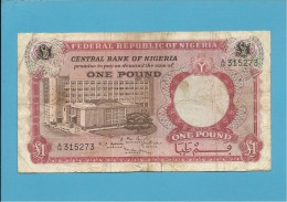 1 POUND - ND ( 1967 ) - P 8 - Serie A/56 - CENTRAL BANK OF NIGERIA - Nigeria