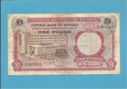 1 POUND - ND ( 1967 ) - P 8 - Serie B/13 - CENTRAL BANK OF NIGERIA - Nigeria